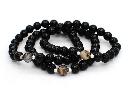 Petrified Wood + Onyx | Stretchy Beaded Bracelets |