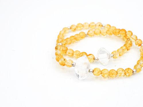 Citrine & Quartz | Stretchy Bracelets | GEMS092 GEMM092