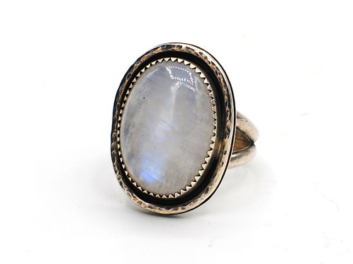 Size 8-8 1⁄4   Moonstone   Sterling Silver Ring   Rough Hands Silver   RH28