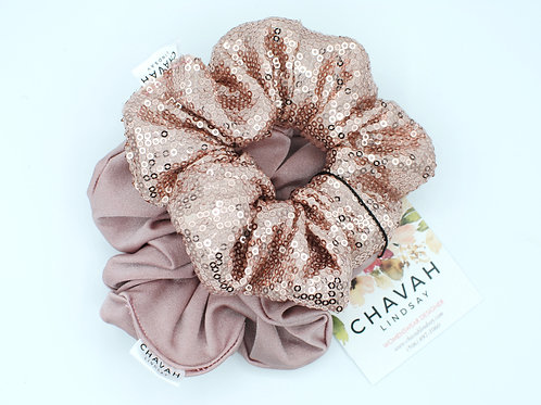 Dusty Rose & Champagne | Hair Scrunchie Set | Chavah Lindsay |