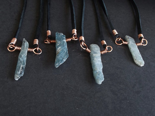 "Blue-Green Kyanite (mid-size 1"") | Copper | 18"" Black Suede Cord | GEM18061"