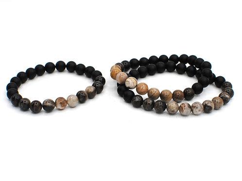Petrified Wood + Matte Onyx   Stretchy Beaded Bracelets   GEM099
