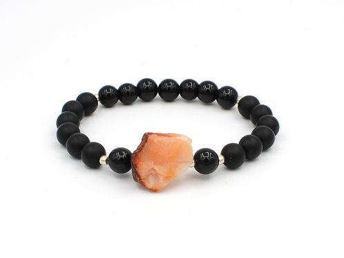 Red Agate & Onyx | Stretchy Bracelet | GEMXL0069