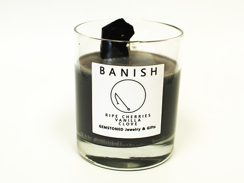 BANISH   Intention Candle   Soy Wax   Gemstoned Candle