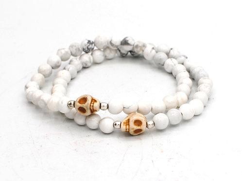 Skulls + Howlite | Stretchy Beaded Bracelets |