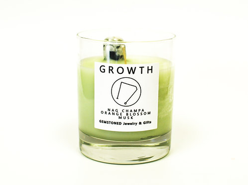 GROWTH | Intention Candle | Soy Wax | Gemstoned Candle