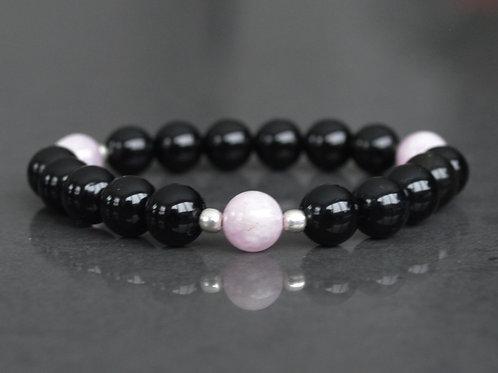 Kunzite + Onyx | Stretchy Bracelet | GEMS0051