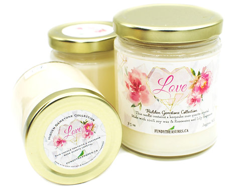 Love | Rosewater & Lily | Hidden Gemstone Candle | Rose Quartz | Fundy Treasures