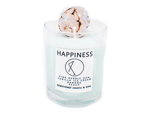 HAPPINESS | Intention Candle | Soy Wax | Gemstoned Candle