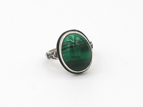 Size 8¼ | Malachite | Sterling Silver Ring | Rough Hands Silver | RH19