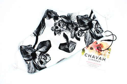 Black & White Floral - Fashion Mask   Chavah Lindsay   CL04
