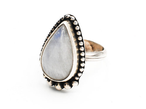 Size 8½ | Moonstone  | 0.925 Sterling Silver Ring | Rough Hands Silver | RH32