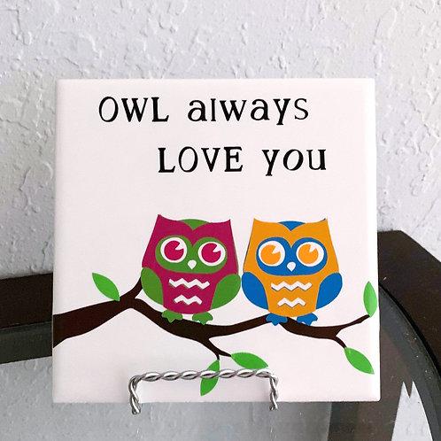 """6"""" X 6"""" Decorative Tile """"Owls"""""""