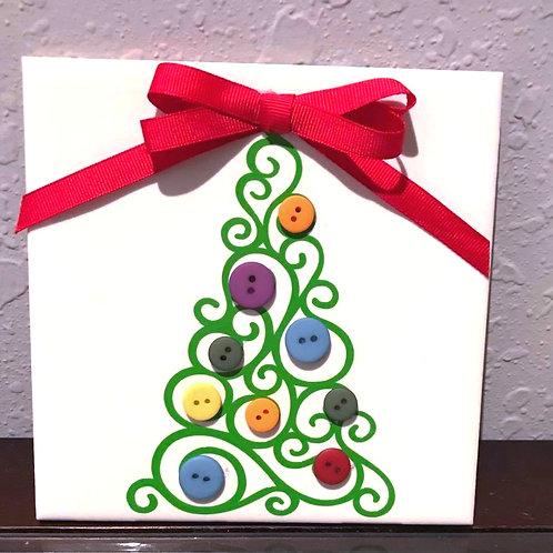 "6"" X 6"" Decorative Tile ""Xmas Tree"""