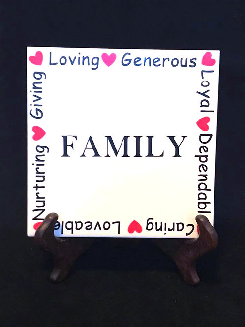 "6"" X 6"" Decorative Tile ""Family"""