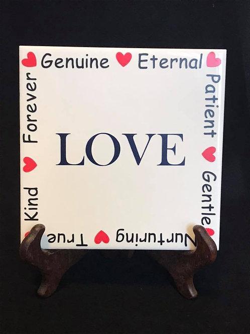"6"" X 6"" Decorative Tile ""Love"""