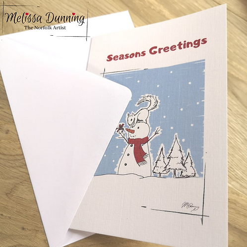 'Snowman and Squirrel' Greetings Card