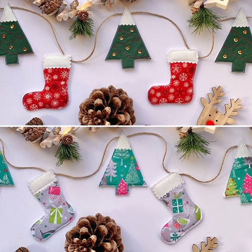 Stocking and Christmas Tree Garland