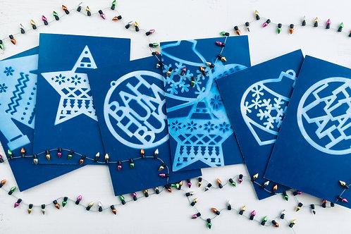 Christmas Decorations Cyanotype (6 Pack)