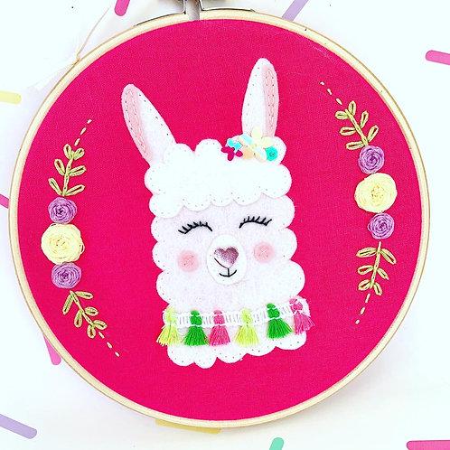 Llama Embroidery Hoop Art