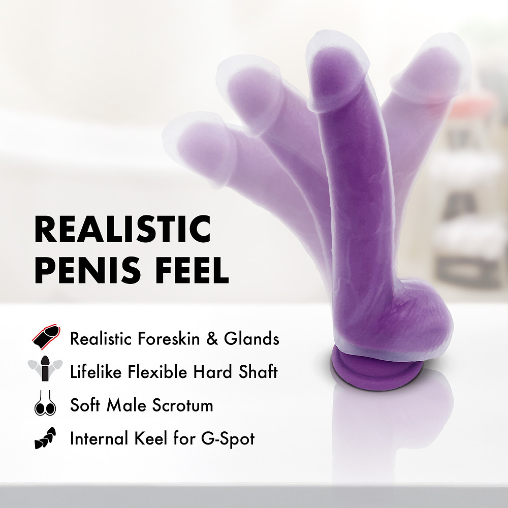 Purple Suction Cup Dildo by ALORA. With Built in Keel for G Spot. Waterproof silicone sex toy.