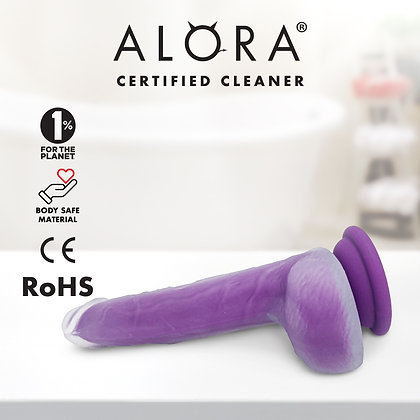 Realistic Purple Suction Cup Dildo: Waterproof Dual Layered Silicone 7inch Penis