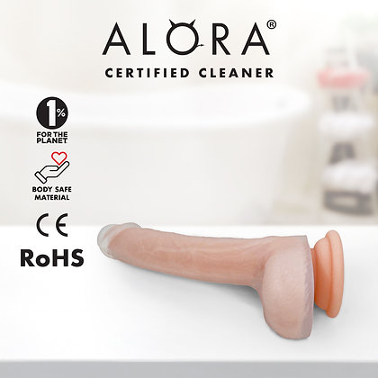 Realistic Beige Suction Cup Dildo: Waterproof Dual Layered Silicone 7-inch Penis