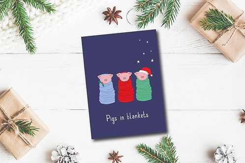 Christmas card- Pigs in blankets