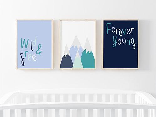 Mountain print set of 3- A4