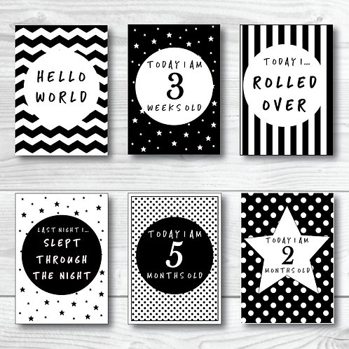 Baby Milestone card set of 24- Black & white
