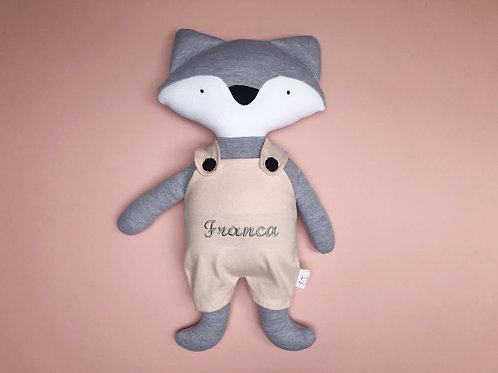 Fox in dungarees soft toy- grey/pink