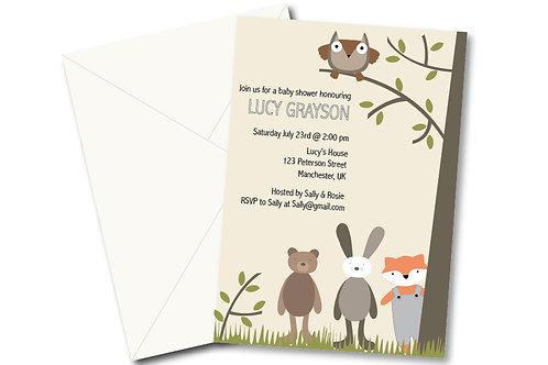 Woodland animals baby shower invitation- PDF