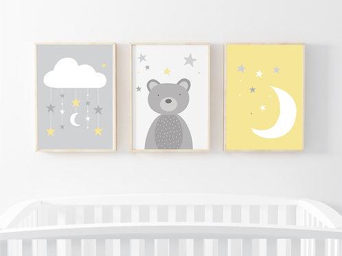 Bear, moon & clouds prints set of 3- A4