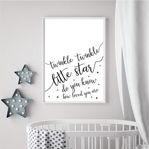 Twinkle Twinkle Print- White & black