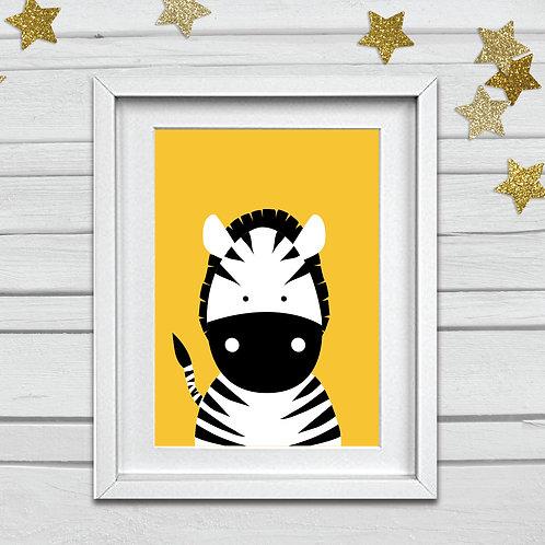 Zebra head nursery print- A4