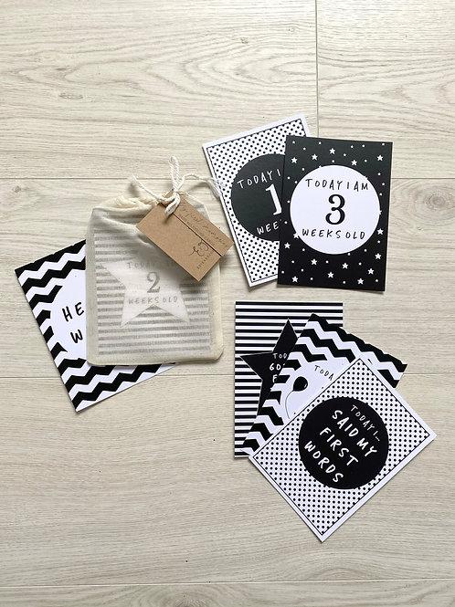 Baby Milestone card set of 24- Black & white
