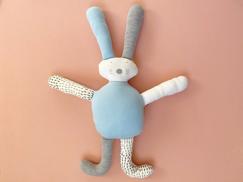 Flopsy bunny soft toy- grey/blue/white
