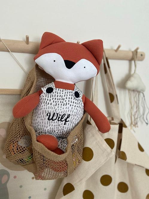 Frankie fox soft toy- orange/dot print