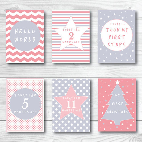 Baby Milestone card set of 24- Pink & Grey