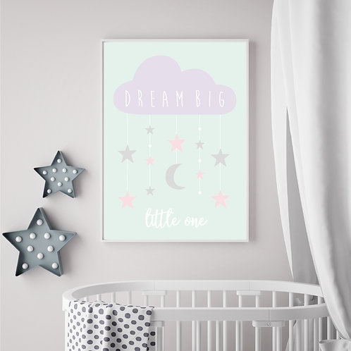 Dream Big Little One Print A3 - mint/lilac/pink