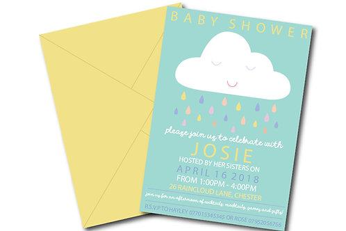 Cloud baby shower invitation- PDF