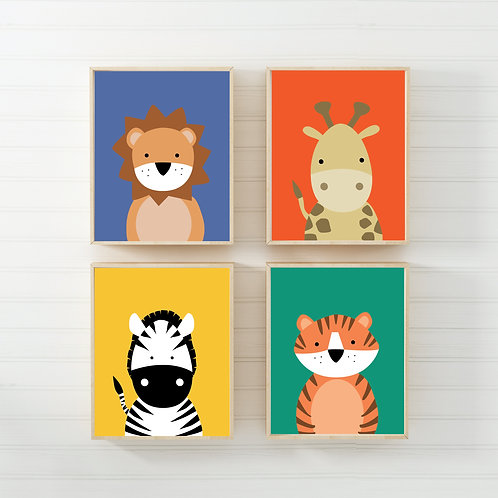 Zoo animal nursery prints set of 4- A4 brights
