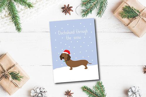 Christmas card- Dachshund through the snow