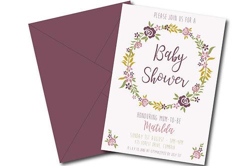 Floral garland baby shower invitation- PDF