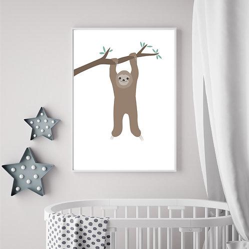 Hanging sloth print- A4