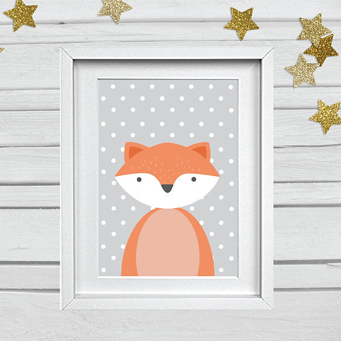 Fox nursery print- A4 orange/grey