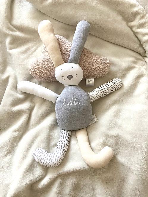Flopsy bunny soft toy- beige, grey & white