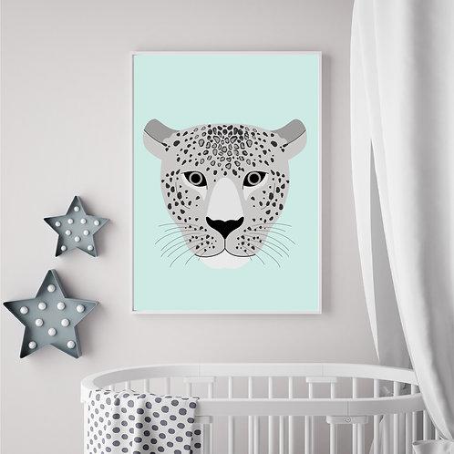 Leopard mint/gery print - A4 print