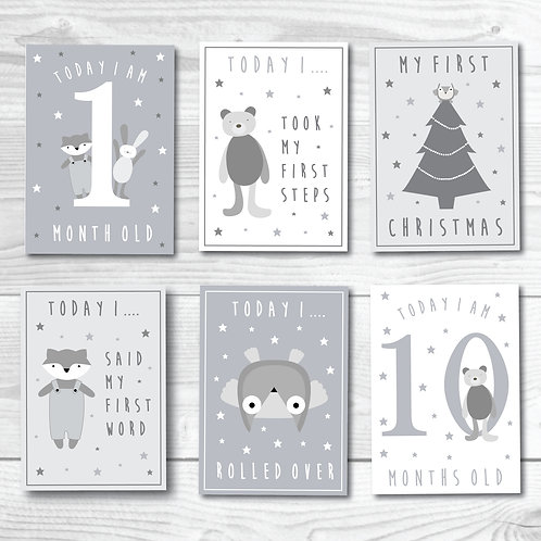 Baby Milestone card set of 24- Grey & white