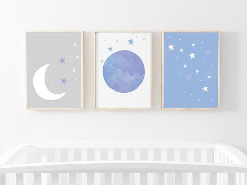 Moon & star prints set of 3- A4 blue